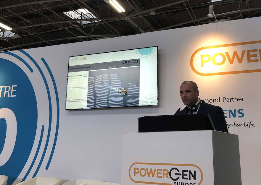 Chris Milne, Orbital Marine, gives a presentation at POWERGEN Europe